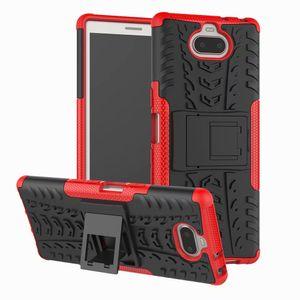 Per Sony Xperia 10 Plus L1 L2 L3 XA1 Plus XZs XZ1 Compact Xperia 1 Hybrid Case Armor Stand Custodia protettiva in silicone Slim Cover rigida