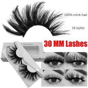 25-30 mm 3D Mink Wimpern Wiederverwendbare 100% reale sibirischen 5D Nerz-Haar-Streifen falschen Wimpern Make-up natürliche lange Einzel Eye Lashes Extensions