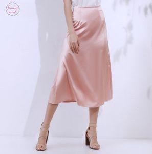 Summer Womens Pink Green Silk Satin Skirt 2020 Vintage Korean Style Long High Waist Midi For Women A Line Elegant Skirts