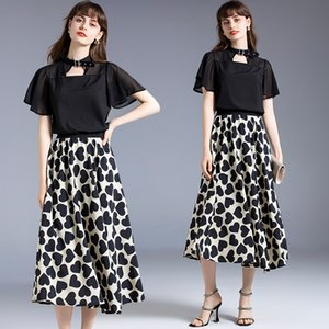 Flare Sleeve Girl Set Tops+skirt Short Sleeve Printed Women Summer Two Piece Set Fashion Lady Blouse Skirt Boutique Suits