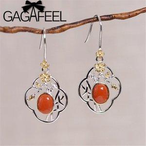 GAGAFEEL Vintage prune Boucles d'oreilles 925 branche de fleurs de prunier en argent sterling Boucles d'oreilles évidé Bijoux Red Stone