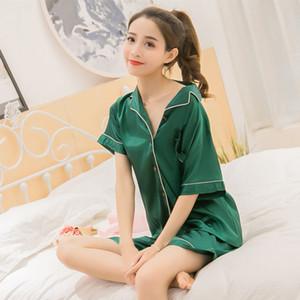 FallSweet Womens de cetim de seda Pijamas Summer Set curto Two-Piece Suit Pijamas Loungewear Feminino 5XL