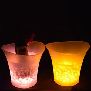LED seaux à glace changement multicolore rond en plastique champagne seau à bière bar de mode fête de nuit décor lumineux outil vente chaude 45kf XY