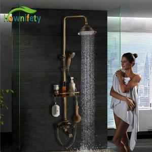 """Antique Brass Beliebte Dusche Set Badezimmer-Hahn-8"""" Duschkopf Hot Cold Shower System-Mixer Badezimmer-Hahn-Wand-T200612"""