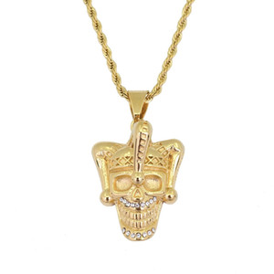 hip hop skull Clown diamonds pendant necklaces for men western luxury necklace Stainless steel Cuban chains rhinestone jewelry