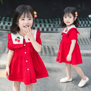 Prenses Çocuklar Parti Elbiseler Pamuk Kızın Elbise Yaz Donanma Tarzı Yaka Etek Çocuk İşlemeli Gömlek-Etek