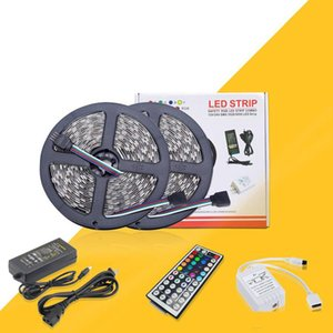 Diy LED Strip 5050 RGB Water Against DC 12V Led Light Strips Flexible Tape add Remote For TV Background Light 5M 10M