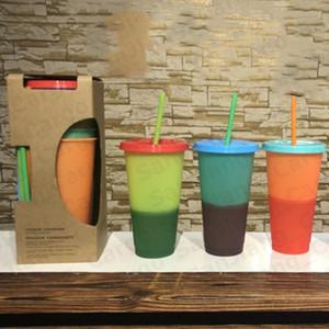 710 мл изменение цвета кружка пластиковые многоразовые стаканы для питья с крышкой и соломой PP Candy Color 2020 ECO-friendly Magic Bottle Cups Mug E31601