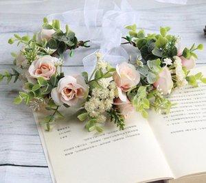 الزهور الزفاف تتويج اليدوية بنات محاكاة ارتفعت الأوكالبتوس أوراق الخضار الشعر الحزب اليوم اكليلا من الزهور الأطفال زينة A3429