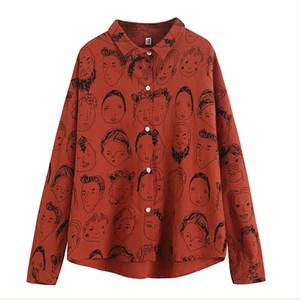 하라주쿠 Style Girls ''코튼 리넨 프린트 셔츠 Women 's Batwing Sleeve Streetwear Japan 카툰 캐주얼 봄 여름 탑스