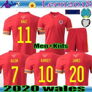 2020 hombres hijos Gales del jersey de fútbol del Euro 2020 País de Gales camiseta de fútbol BALA JAMES maillot de pie RAMSEY Camisetas de foot