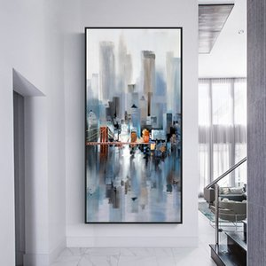 Abstract art landscape city architecture bridge high-rise construction canvas painting poster picture for living room home decoration