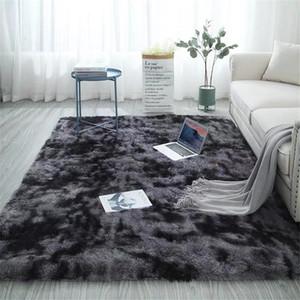 17 tapis avec Pile longue cravate Dyeing Gradient Fluffy Tapis Fuzzy Chambre moderne Nodic style Table basse gris mat 140x200 CM