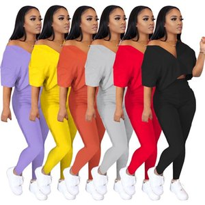 Women Tracksuit short sleeve 2 Piece Set sportswear Jogging Sports hoodie leggings Suits pullover hot sale klw4174
