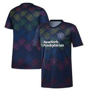 Maillot de football 239 MLS New York City FC MLS Navy Pride avant-match, maillot de football 2019 MLS New York City FC, avant-match
