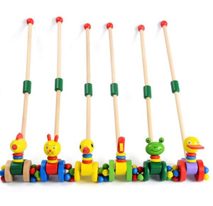 Crianças Wooden Toys Early Childhood bebê Walker Deconstructable madeira único pólo Passo Carrinho Empurrando Toy