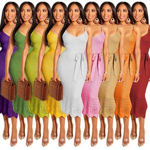 Sling niñas vestidos sólido gancho de invierno vaina vestidos de tejer flor con cordones de señora Dress Lersure de vestir del ajustado de los vestidos 07