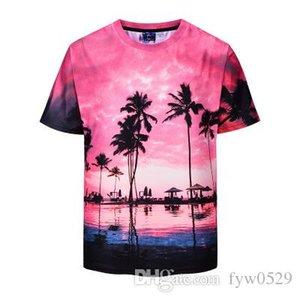 ткань New Hawaii Горение Skies 3D тенниска Мужчины с коротким рукавом Crewneck Summer Tops Casual Tee Shirt Homme Повседневный Hip Hop Графические футболки