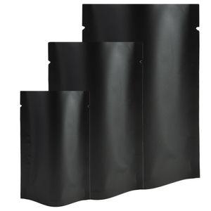 10x16cm (3.94x6.3 بوصة) 100pcs التي الحاجز حرارة ختم حزمة البيع بالتجزئة كيس أسود الألومنيوم احباط مكشوفة الوقوف الحقائب لتناول الوجبات الخفيفة الشاي