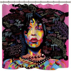 아프리카 아프리카 계 미국인 샤워 커튼 락 다채로운 수채화 검정 머리 소녀 레이디 핑크 욕실 세트