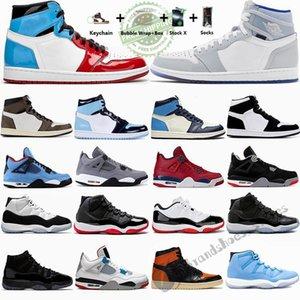 2020 1 Alta OG Travis Scotts 1s tênis de basquete Destemido Zoom Racer Azul Obsidian UNC Mens Formadores 4s 11s Sports Sneakers Com Box