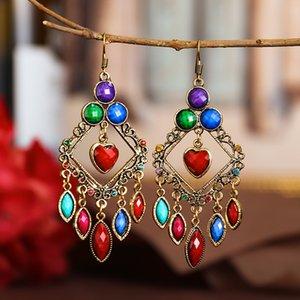 10pcs Lot European New Arrive Rhombus Earring Hollow Out Zircon Colorful Dangle Earrings For Women Dress Up Bohemian Hanging Ear Jewelry