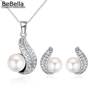 wholesale created crystal pearl necklace earrings jewelry set Crystals from Swarovski fashion jewelry for women girl birthday gift