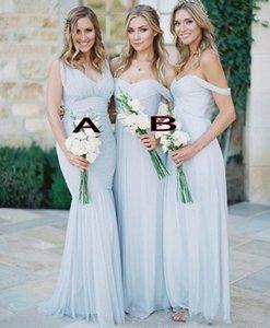 Gorgeous Draped Sky Blue Tulle Off-shoulder Beach Boho Long Bridesmaid Dresses Bohemian Wedding Party Guest Bridesmaids Gown