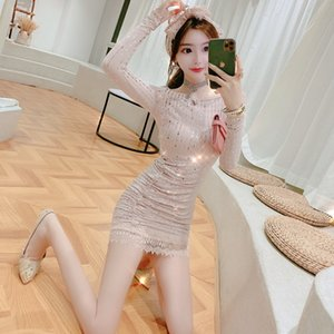 2020 vestito di lustrini New French Cuore Pieghe stretta vita che dimagrisce Lace Stitching Dress donne