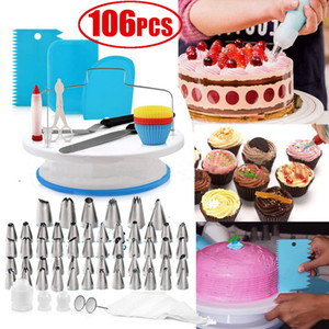 106 unids / set Cake Decorating Supplies Cake Turntable Set Pastelería Fondant Tool Hornear Suministros DIY Postre Hornear Pastelería Suministros