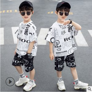 Boys Sports Clothing Set 2020 New Cool Summer Kids Clothes Sets Children's Leisure Sets Letter Graffiti Color Size4-14 ly001