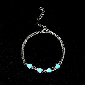 Boemia luminosi cuore cavigliere Ciondolo Abbastanza Bracciale sul Jewelry Leg Amante del calzino Moda Femminile piede del partito regalo Beach cavigliera
