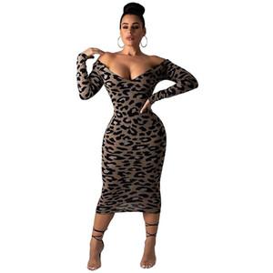 Женщины Леопард Печатных Миди Платье Сексуальная С Плеча V Шеи С Длинным Рукавом Bodycon Ночной Клуб Платья Женские Vestidos