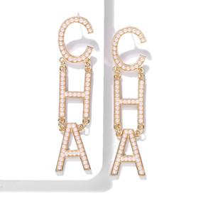 diseño de lujo al por mayor exagerada gran CHA Carta de perlas largo soltar pendientes del perno prisionero de araña cuelgan para las mujeres