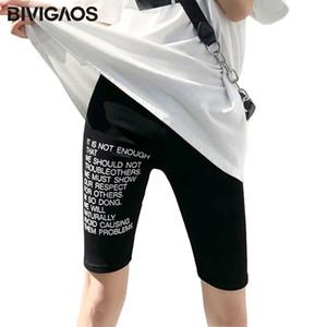 BIVIGAOS Women Summer Thin Letters Printing Knee Shorts Fashion Sport Stretch Biker Shorts Fitness Plus Size Sorts Women T200704