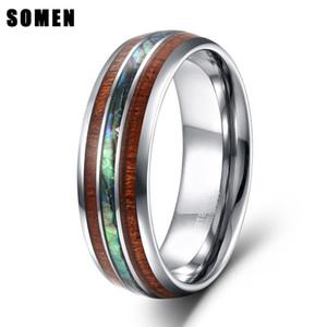 Somen 8mm Luxus Männer Silber Hartmetall Ring Holz Abalone Shell Innen Für Herren Hochzeit Verlobungsbänder Anillos Hombre T190624
