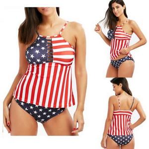 Sport Sexy Bikini Set bandiera americana stelle strisce bandiera digitale stampa un pezzo benda posteriore aperta costume da bagno spaccato yakuda Giornata Nazionale della stella