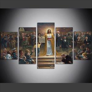 5 Pièce Grande Taille Mur Mur de Toile Art Photos Creative Jésus Christ Paix Affiche Art Imprimer Peinture à L'huile pour Salon