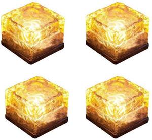 LED Ice Cube Lumière solaire verre Brique Lumière LED Paysage Buried Cube carré Lampe en verre givré Convient pour les routes en plein air