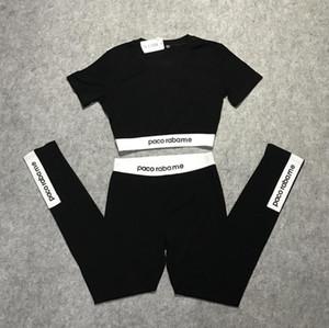 2019 new summer European fashion women's high waist short sleeve letter print crop top t-shirt and sports yoga long leggings twinset