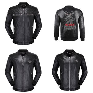 Bomber Men Leather Jacket Hot Sale Casual Fashion Hip Hop Jackets Men's Long Sleeve Skull Star Leather Solid Motorcycle Male Jackets Coats
