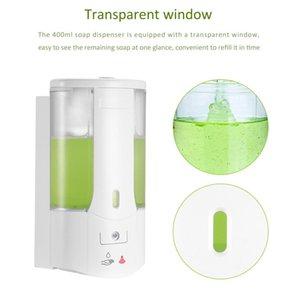400ml Automatic Soap Dispenser Wall-Mounted Sensor Soap Dispenser Hand Sanitizer Shampoo Container For hotel Kitchen Bathroom FFA4155