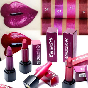 CmaaDu Moisturizing Metal Dark Red Purple Lipstick Makeup Stick Lipsticks Shiny Lip Lip Pearlescent Waterproof Durable Shim V9M1