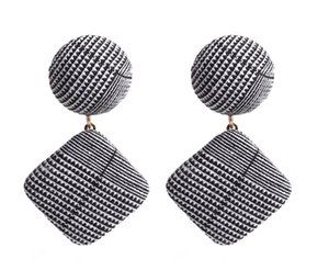 Western style fashion simple classical houndstooth fabrics earrings pastoral style studs earring retro designers Free Shipping