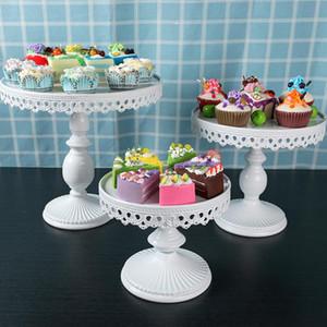 웨딩 케이크는 흰색 라운드 골동품 컵 케이크 플레이트 스탠드 것은 케이크 홀더 파티 장식 WX9-1894 용 금속 철 과자 디저트 트레이 디스플레이 스탠드