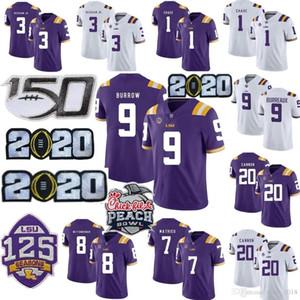 LSU Tigers Burreaux Football Jersey diamant Patch 2020 Peach Bowl éliminatoire College 9 Joe Burrow Pseudo Beckham 7 Delpit Mathieu Chase