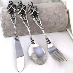 Nova High-end Titanium Steel Tableware Set Fork / colher / faca Kits Talheres Colher Garfo de jantar Forks Bento Acessórios de cozinha SH190926