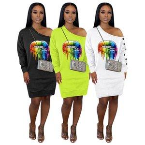 Mulheres Primavera manga comprida e vestidos joelho 2020 ocasional das senhoras Lip Impresso orvalho ombro One-peças fêmea Joelho de comprimento vestido de pano E22702