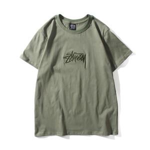 High-End Abbigliamento Estate Stussy nuovi europei e americani popolare marchio ricamato Tuci Tutto-fiammifero maglietta Coppia classiche da uomo e Donne Cele