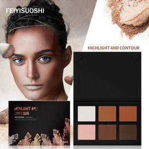 6 Colors Light Medium Contour Kit Bronze Glow Pressed Powder Palette Highlighter Bronzer Contouring Makeup Set
